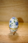 Blue Rose Porcelain Egg Shaped Trinket Box