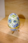 +MBA #14-219A  Small Blue Roses Porcelain Egg Shaped Trinket Box