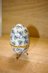 Blue Floral Porcelain Egg Shaped Trinket Box