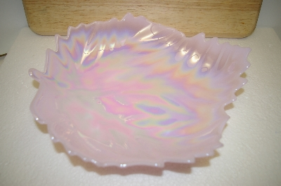 "**MBA #14-091    ""Pink Milk Glass Leaf Shaped Candy Dish"