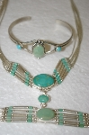 **MBA #16-553  3 Piece Liquid Silver & Green Turquoise Set