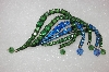 **  3 Piece Antique Green & Blue Crystal Pin & Earring Set