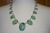 "**  22"" Green Turquoise 21 Stone Artist Signed Necklace"