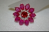 "**MBA #CW-CRPS  ""Charles Winston Created Ruby & Pink Sapphire Flower Brooch"