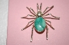 "**  MBA #16-633   ""Artist Signed Blue Turquoise Spider Pin"