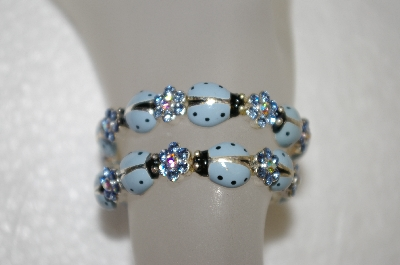 **MBA #16-527  Set Of 2 Stretch Hand Enameled Blue Crystal Lady Bug Bracelets