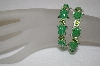 **MBA #16-524  Set Of 2 Hand Enameled Green Frog Crystal Stretch Bracelets