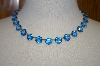 **MBA #16-638  Antique 24 Stone Blue Glass Necklace