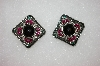 Square Pink, Green & Black Crystal Clip On Earrings