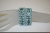 **Pair Of Kirks Folly Blue Glass Pearl and Crystal Stretch Bracelets