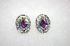 Oval Purple & Blue Crystal Earrings