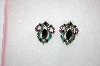 Small Pierced Black, Green & Pink Crystal Earrings