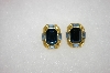 +MBA #16-568  Square Goldtone Blue Crystal Clip On Earrings