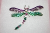 Beautiful Green & Purple Crystal Dragon Fly Pin
