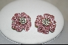 Pair Of Clip On Pink Crystal Flower Earrings