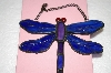 +MBA #16-607B  Blue & Purple Stained Glass Hanging Dragonfly