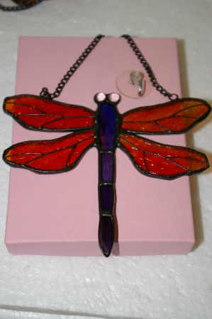 Red & Purple Stained Glass Hanging Dragonfly
