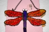 +MBA #16-609A  Red & Purple Stained Glass Hanging Dragonfly
