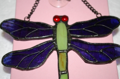 Green & Purple Stained Glass Hanging Dragonfly