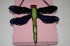 +MBA #16-612A  Green & Purple Stained Glass Hanging Dragonfly