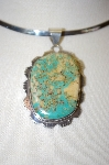 **MBA #16-366  Green Turquoise Hand Made Sterling Pendant