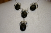 **MBA #16-093  Beautiful Black Onyx Artist Signed Necklace & Matching Earrings