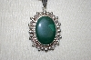 "**MBA #16-194  Hand Made Malachite Sterling Pendant With 20"" Chain"