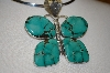 "**MBA #16-111  ""Large Artist Signed Green Turquoise Butterfly Pendant"