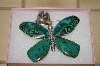 "**MBA #16-108   ""Artist Signed Large Green Turquoise Butterfly Pendant"