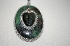 **MBA #16-231  Sterling Zoisite,Obsidian & Rubellite Hand Made Pendant