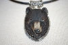 **MBA #16-165  Artist Signed Hand Carved & Painted Sterling Bear Pendant