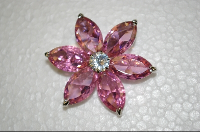 """ SOLD""  Pink CZ Flower Pin/Pendant"