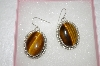 """SOLD""  MBA #16-289    Large Artist Signed Tigers Eye Sterling Earrings"
