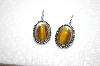 +MBA #16-271  Small Oval Sterling Tiger Eye Earrings