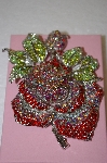 Jumbo Red Crystal Rose Brooch