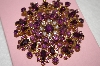 +MBA #16-472  Large Antique Gold Toned Purple Glass Brooch