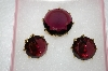 **MBA #16-504  Antique Purple Glass Pin & Clip On Earring Set