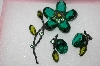 **MBA #16-548  Antique Green Glass Flower Pin & Earring Set