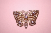 **MBA #16-404  Charles Winston Rose Gold Plated Pink & Lavender CZ Butterfly Pin