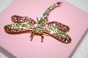 Pink & Green Crystal Dragonfly Pin