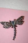 "**MBA #16-460  ""Antiqued Silver Blue Crystal Dragonfly Pin"