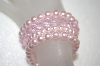 **MBA #16-467  Set Of 4 Pink Glass Pearl & Pink Crystal Stretch Bracelets