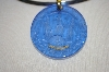 **MBA #16-423  Tagliamonte  Venetian Hand Carved Blue Glass Large Pendant