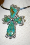 "**  MBA #16-246  ""Artist Signed Green Turquoise Fancy Cross  Pin Pendant"