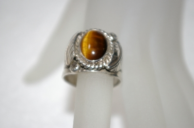 "+MBA #16-174  Artist ""Jaun Guerro"" Signed Sterling Tiger Eye Ring"