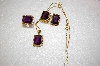 **MBA #17-601   4 Piece Set Pendant, Ring & Amethyst Square Cut Earrings