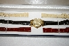 *MBA #17-153   Vicence Medium Round Case 14K Watch With 6 Leather Straps