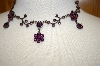 **MBA #17-402  Vintage Look Austrian Purple Crystal Necklace With Matching Earrings