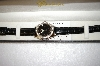 *MBA #17-297  Genevex Swarovski Crystal Black Strap Watch