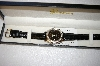 *MBA #17-295  Genevex Swarovski Crystal Black Ladies Watch